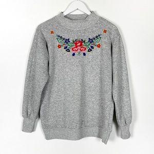 Soft Gray Mock Neck Sweatshirt Embroidery
